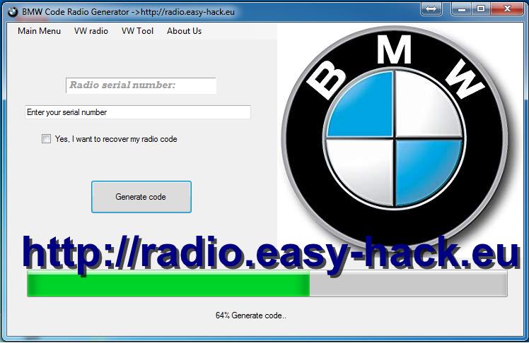 BMW Radio code Stereo-reset decoder generator M3 M4 M5 M6 X3